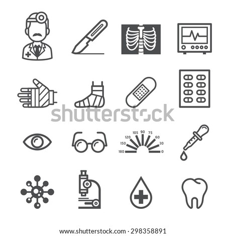 Medicine and Health icons. Vector illustrations. - stock vector
