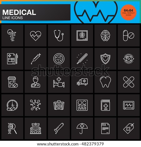 Medicine and Health line icons set, Medical outline vector symbol collection, linear pictogram pack isolated on black, logo illustration