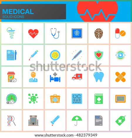 Medicine and Health vector icons set, Medical modern solid symbol collection, pictogram pack isolated on white, colorful logo illustration
