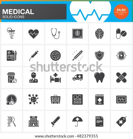 Medicine and Health vector icons set, Medical modern solid symbol collection, pictogram pack isolated on white, logo illustration