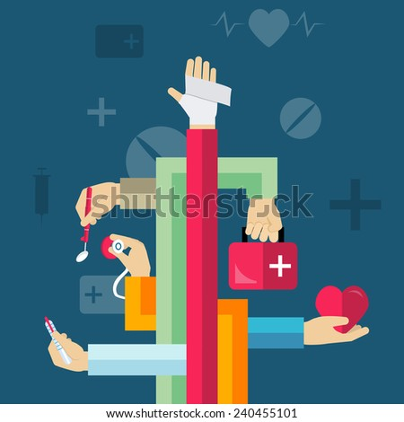 Medicine and healthcare concept with with human hands and treatment vector illustration - stock vector
