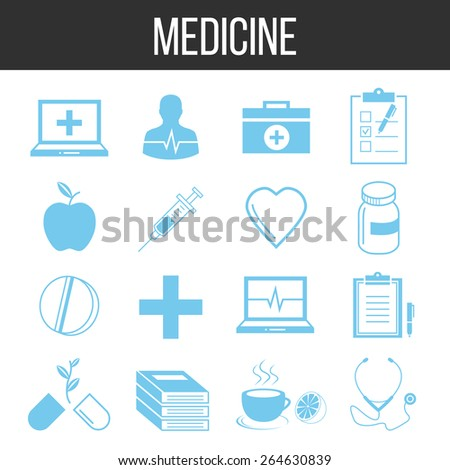 Medicine and healthcare icons set. Blue icons isolated on white background. Vector illustration. - stock vector