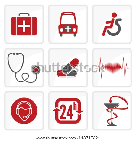 Medicine and  Heath Care icons - stock vector