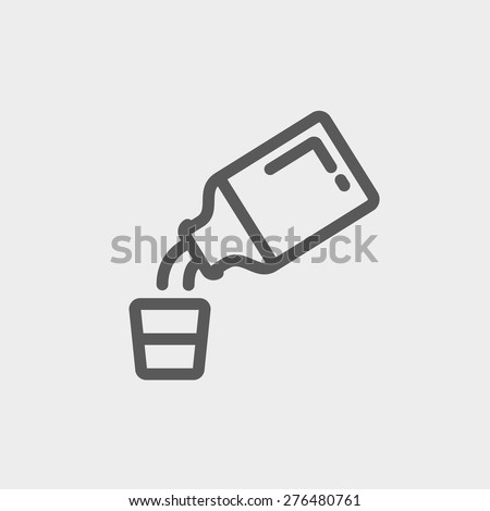 Medicine and measuring cup icon thin line for web and mobile, modern minimalistic flat design. Vector dark grey icon on light grey background. - stock vector