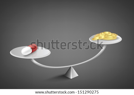 medicine and money on scales - stock vector