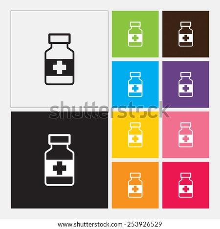 Medicine bottle icon - Vector - stock vector