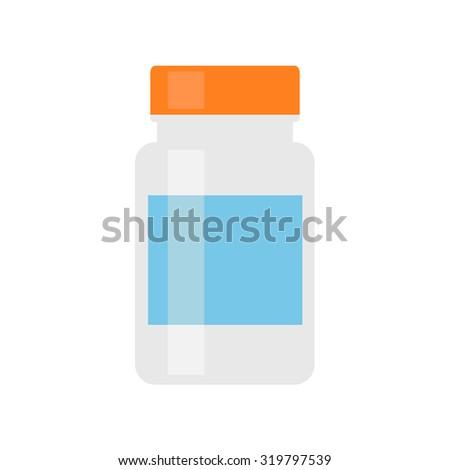 Medicine bottle. Pill bottle for pills or capsules. Isolated medicine bottle on white background. White pill bottle in color. Medicine container. Flat style vector illustration. - stock vector