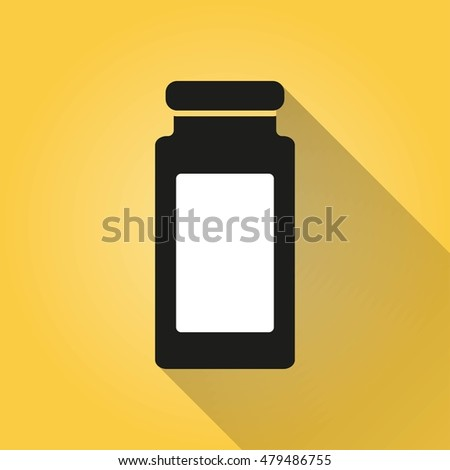 Medicine bottle vector icon with long shadow. Illustration isolated on yellow background for graphic and web design.