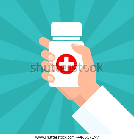 medicine bottle with red cross in hand of a doctor on rays background - stock vector