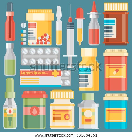 Medicine bottles collection. Bottles of drugs, tablets, capsules and sprays. Vector illustration - stock vector