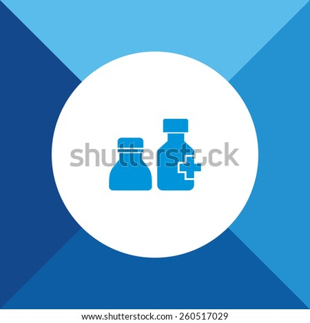 Medicine Bottles Icon On Blue Background. Eps-10. - stock vector