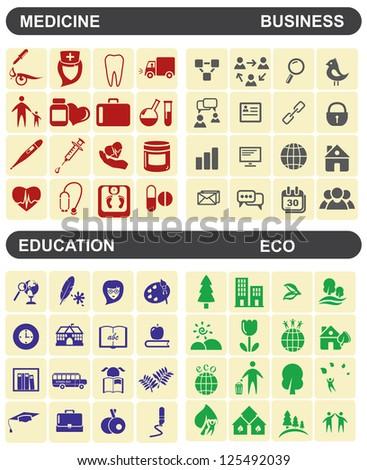 medicine business education eco - stock vector