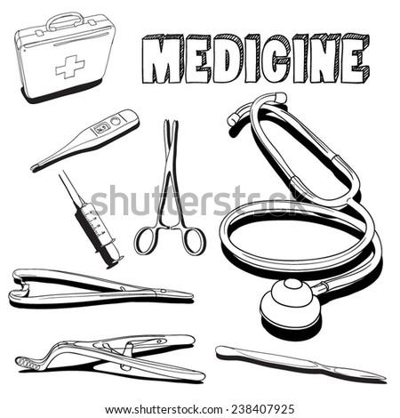 Medicine Collection, hand drawn. Vector Illustration. - stock vector