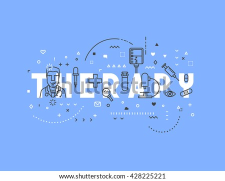 Medicine concept design Therapy. Creative design elements for websites, mobile apps and printed materials. Medicine banner design. Industry concept pharmaceuticals - stock vector