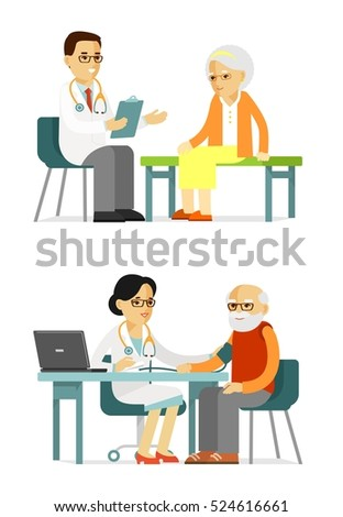 Medicine concept with doctor and senior patient in flat style isolated on white background. Practitioner young doctors man and woman and elderly patients in hospital. Consultation medical diagnosis