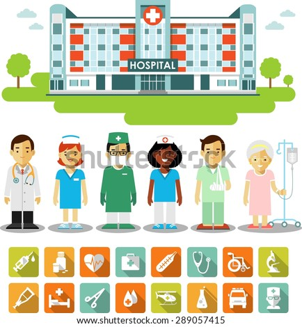 Medicine concept with people, icons and hospital building. Set of medical infographic elements - doctors, nurses, patients in flat style - stock vector