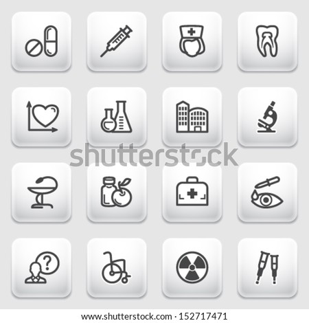 Medicine contour icons on gray background. - stock vector