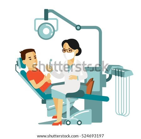 Medicine Dental Concept In Flat Style Isolated On White Background Young Doctor Woman And Patient