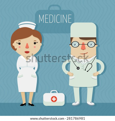 medicine, doctor and nurse in uniform, character design. vector illustration  - stock vector