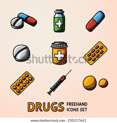 Medicine (drugs) colorfull handdrawn icons set with - pills box, tablets, pill, blister, vitamins, syringe, liquid medicine. - stock vector
