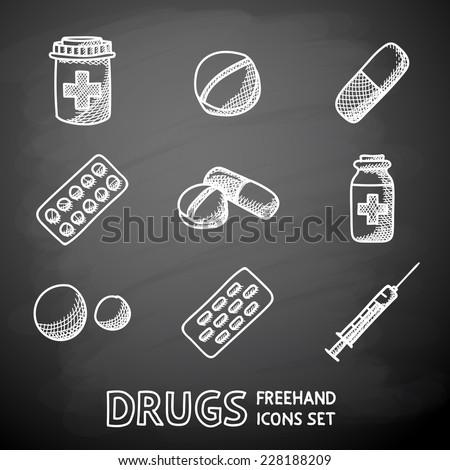 Medicine (drugs) painted on black chalkboard icons set with - pills box, tablets, pill, blister, vitamins, syringe, liquid medicine. - stock vector