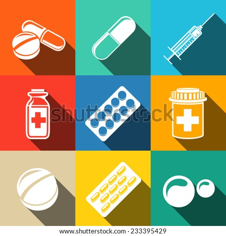Medicine (drugs) white flat icons set with long shadows - pills box, tablets, pill, blister, vitamins, syringe, liquid medicine. - stock vector