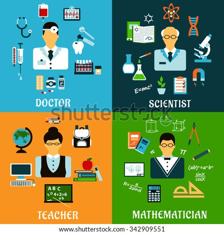 Medicine, education and science professions flat icons of doctor with drugs, teacher and mathematician with school supplies, scientist with laboratory equipment - stock vector