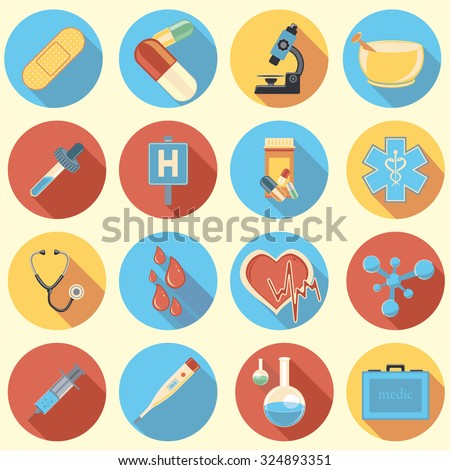 medicine flat icons with shadow - stock vector