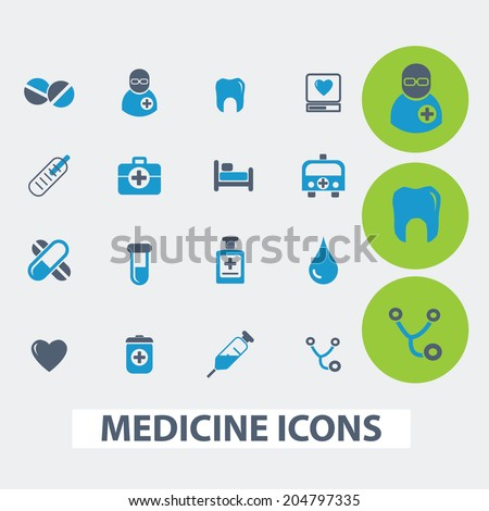 medicine, health care, hospital, doctor vector set of colorful flat icons, signs, design elements for mobile and web applications. - stock vector