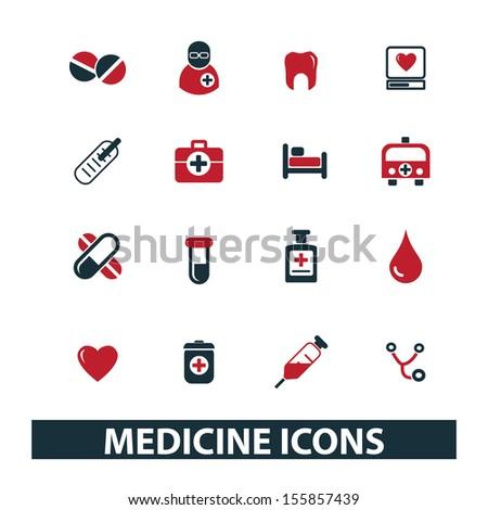 medicine, health care, hospital icons set, vector - stock vector