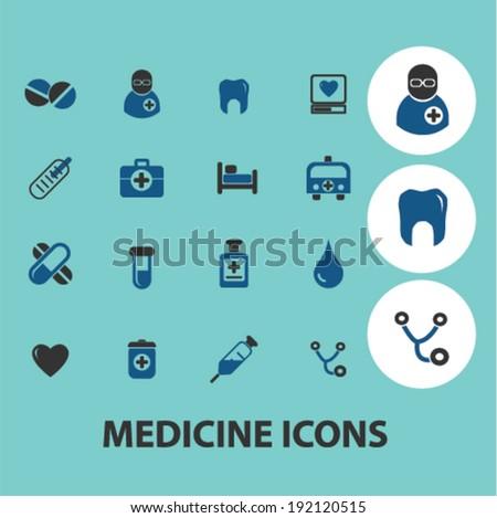 medicine, health icons, signs set, vector - stock vector