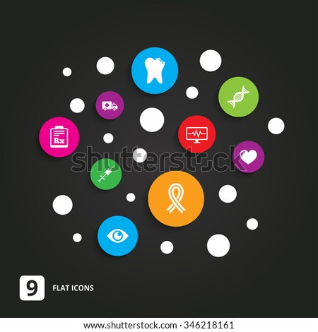 Medicine, healthcare and diagnosis icons. Tooth, syringe and ambulance signs. Dna, awareness ribbon symbols. Flat circle buttons with icons on black. - stock vector