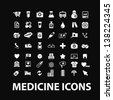 medicine, hospital, health care, insurance white isolated icons, signs on black background for design template, vector set - stock photo