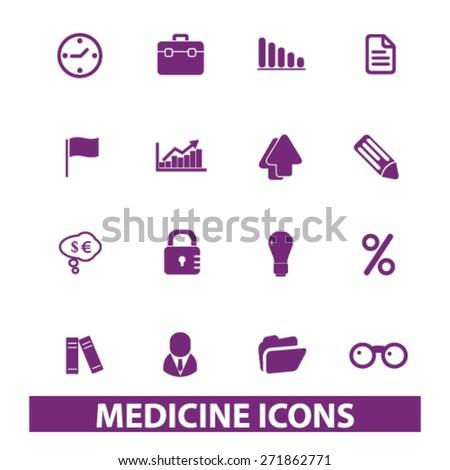 medicine, hospital icons, signs, illustrations set, vector - stock vector