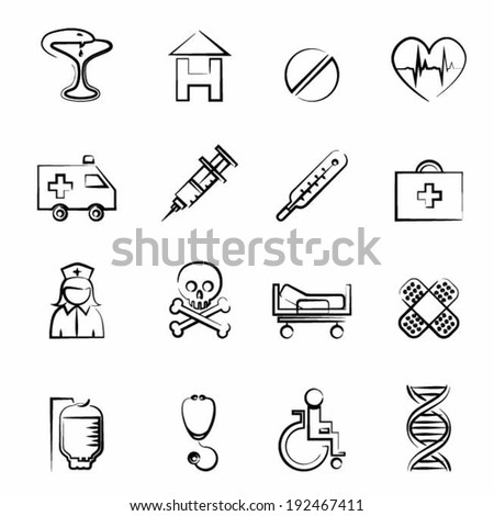 Medicine icon outline set vector illustration design elements - stock vector