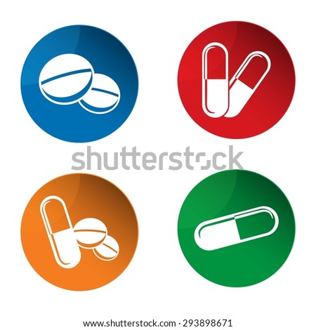 Medicine icon. Pills icon. Capsules icon. Pharmacy icon. Vector - stock vector