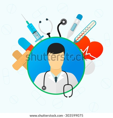 Medicine icon set: doctor, Medical syringe with liquid, medical thermometer, Stethoscope, medical pills, heart pulse, medical electronic thermometer, adhesive bandage ( sticking plaster) - stock vector
