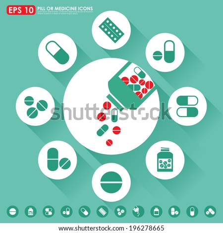 Medicine icon set in light green medical style color - stock vector