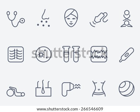 Medicine icon set, thin line design - stock vector
