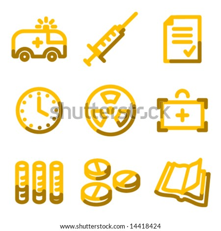 Medicine icons, gold contour series - stock vector
