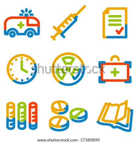 Medicine icons set 1, colour contour series - stock vector