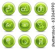 Medicine icons set 2, green circle glossy buttons - stock vector