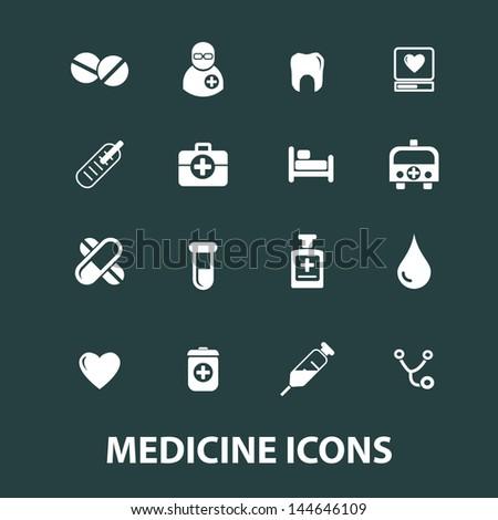 medicine icons set, vector - stock vector