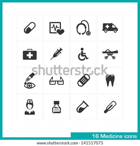 Medicine icons set. Vector black pictograms for web, internet, computer, mobile apps, interface design: medical nurse, injection, pill, thermometer, wheelchair, medication, ambulance, tooth symbol - stock vector