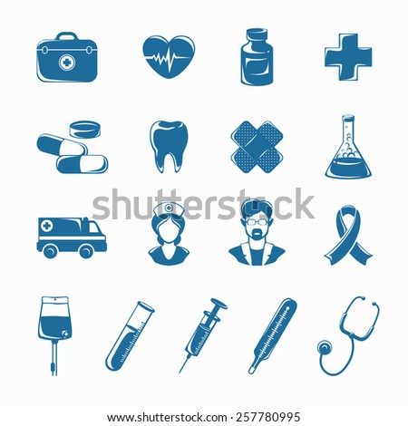 Medicine icons set with syringe stethoscope nurse ambulance isolated vector illustration - stock vector