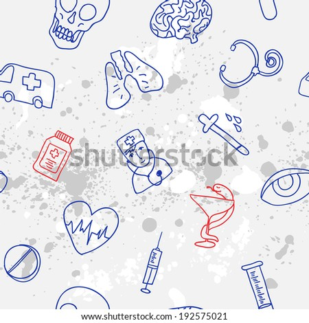 Medicine icons vector doodle seamless background, hand drawn pattern - stock vector