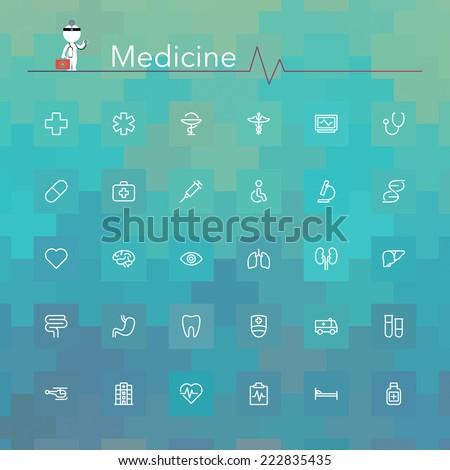 Medicine line Icons set. Vector illustration. - stock vector