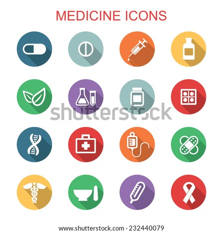 medicine long shadow icons, flat vector symbols - stock vector