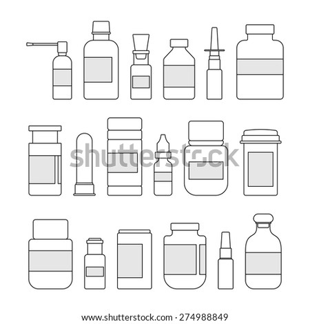 Medicine outline bottles collection. Bottles for drugs, tablets, capsules and sprays. Hospital equipment. Vector illustration on white background - stock vector