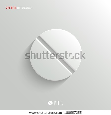 Medicine pill icon - vector web illustration, easy paste to any background - stock vector